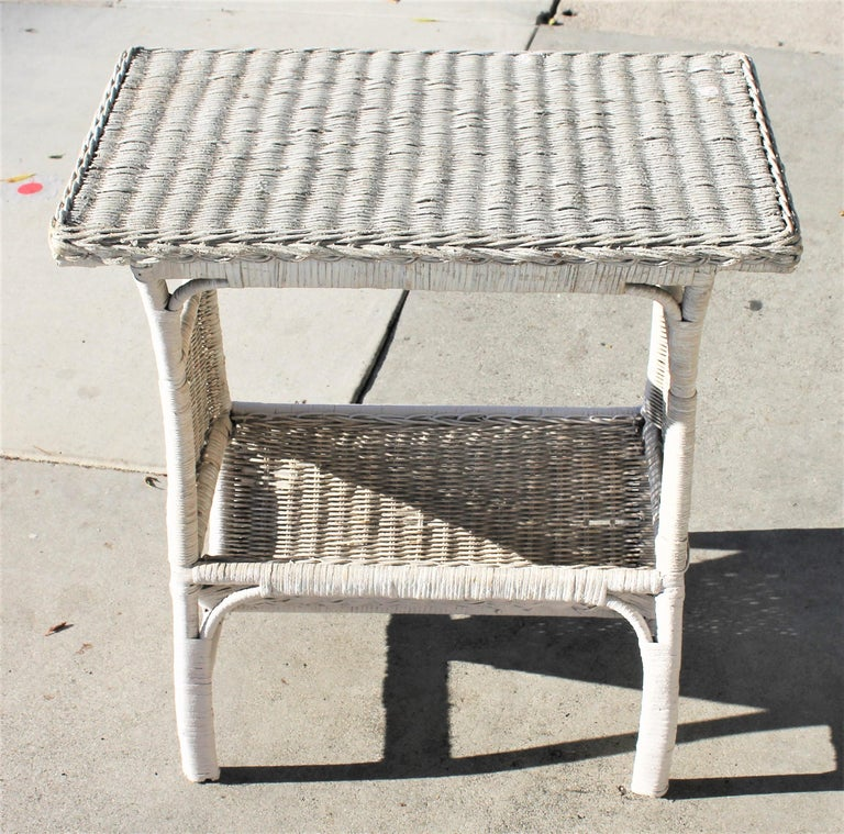 American Wicker Side Table in Original White Painted Surface For Sale