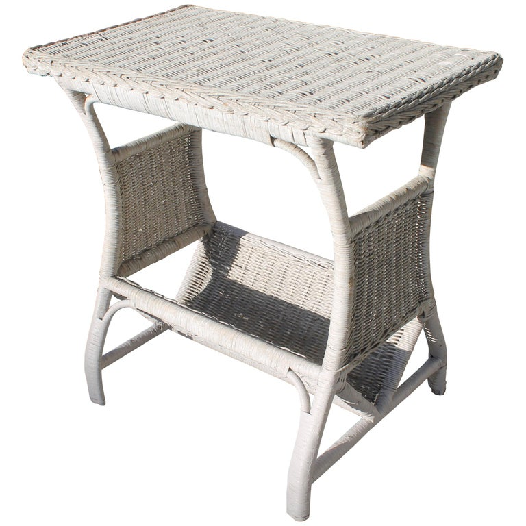 Wicker Side Table in Original White Painted Surface For Sale