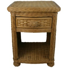 Wicker Side Table or Nightstand with Drawer and Shelf