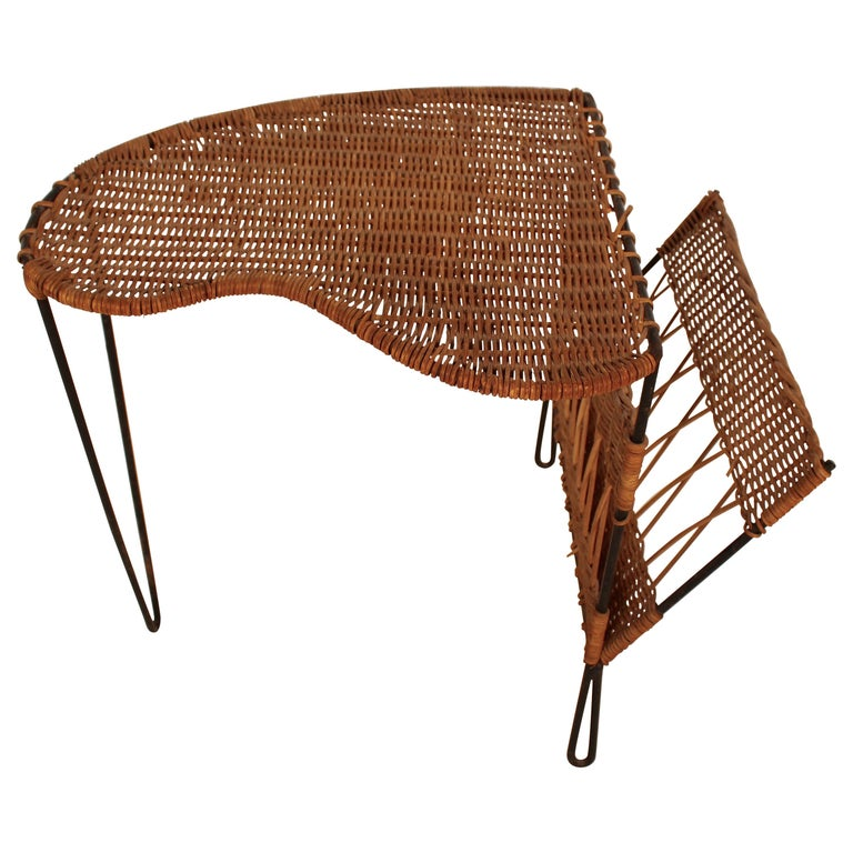 Wicker Side Table with Magazine Holder by Raoul Guys, France, 1950 For Sale