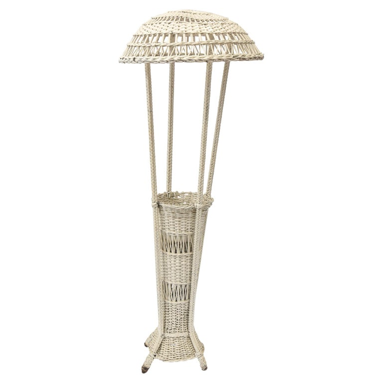 Wicker Standing Floor Lamp Early 20th Century with Flower Vase Insert Base For Sale