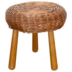 Wicker Stool in the Style of Tony Paul