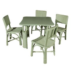 Wicker Table and Four Chairs
