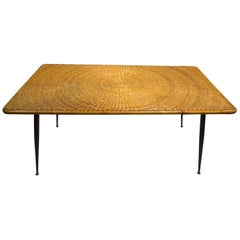Wicker Top Dining Table Attributed to Umanoff