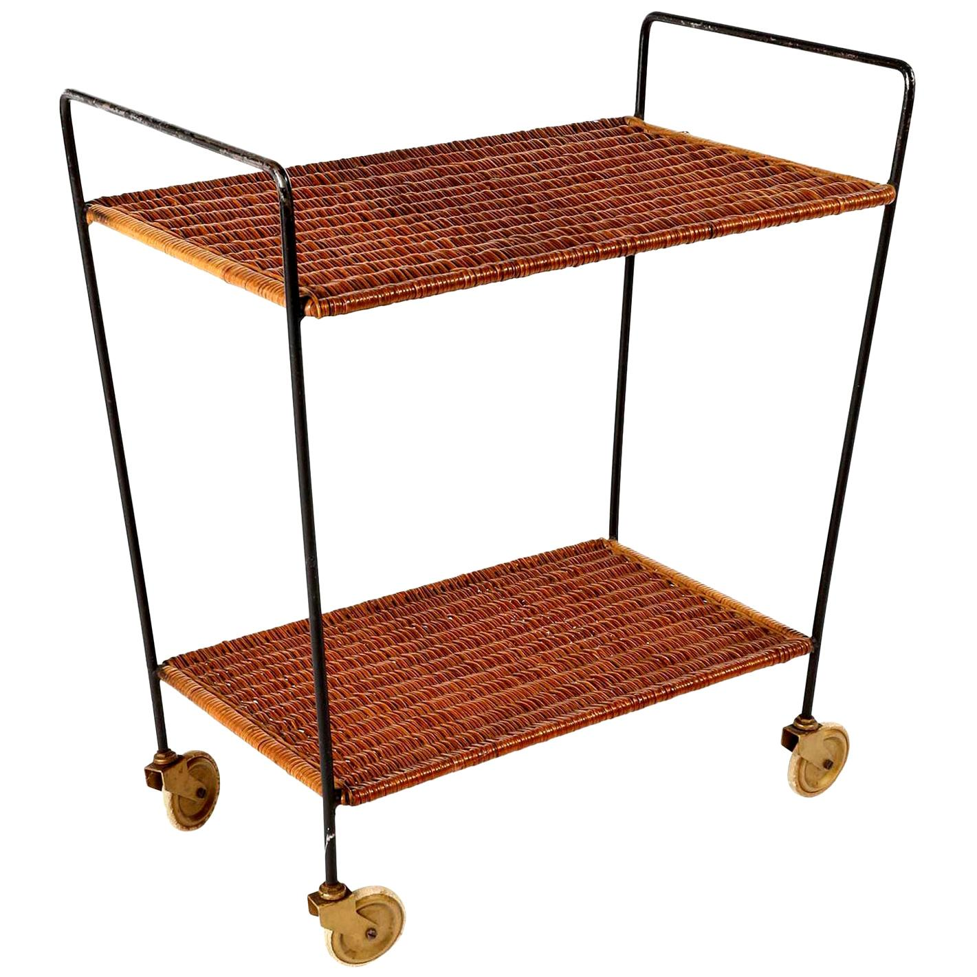 Wicker Trolley Bar Cart, 1950s