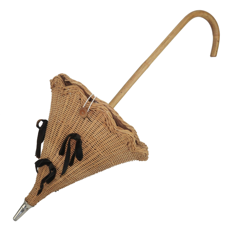 Wicker Umbrella Parasol Basket Novelty Handbag, 1950's
