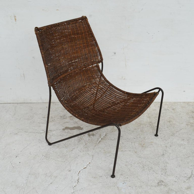 Mid-Century Modern wicker & wrought iron lounge chair by Frederick Weinberg  Measures: 23