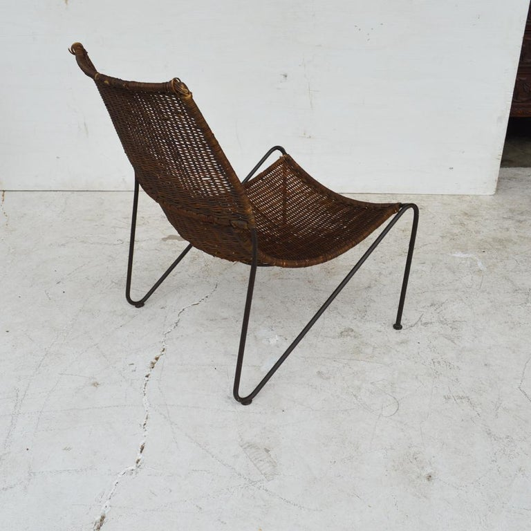 Mid-Century Modern Wicker & Wrought Iron Lounge Chair by Frederick Weinberg For Sale