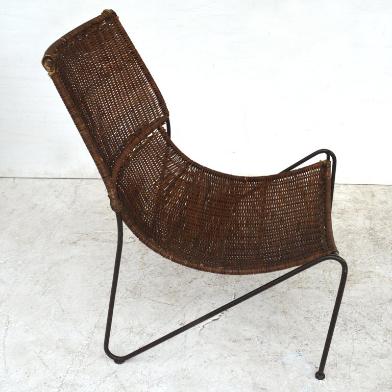 North American Wicker & Wrought Iron Lounge Chair by Frederick Weinberg For Sale
