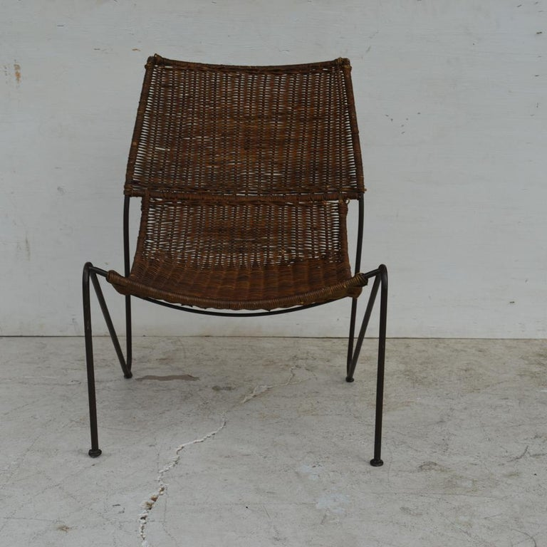 Wicker & Wrought Iron Lounge Chair by Frederick Weinberg In Good Condition For Sale In Pasadena, TX