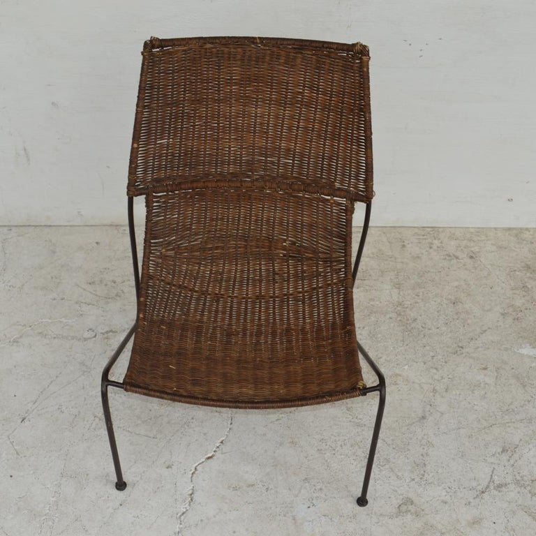 20th Century Wicker & Wrought Iron Lounge Chair by Frederick Weinberg For Sale