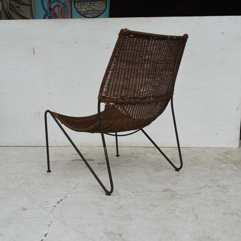Rattan Wicker & Wrought Iron Lounge Chair by Frederick Weinberg For Sale