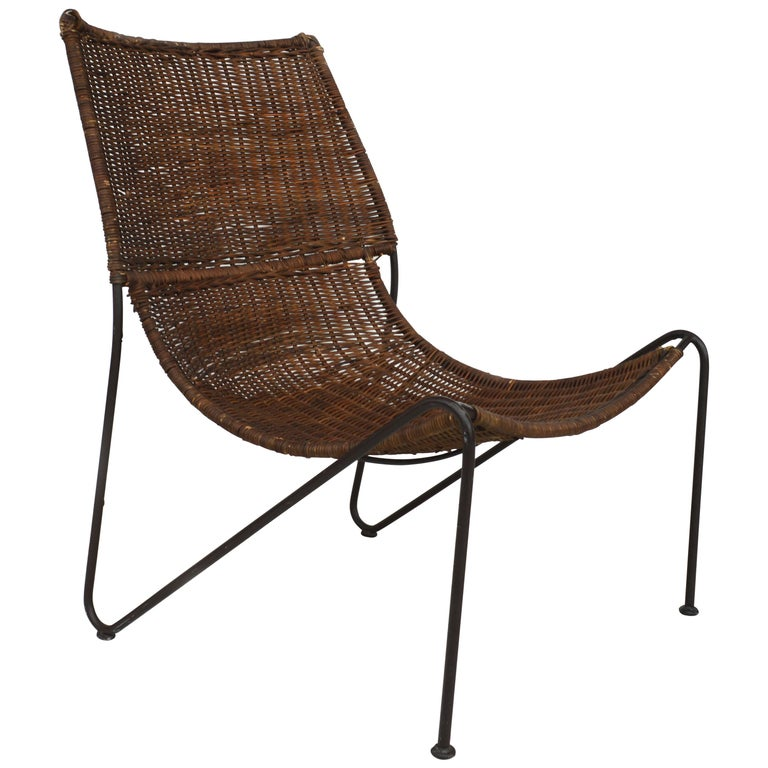 Wicker & Wrought Iron Lounge Chair by Frederick Weinberg For Sale