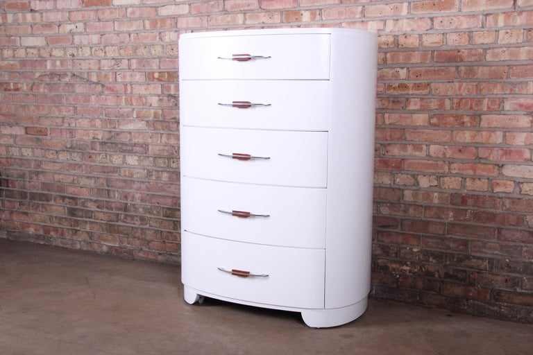 American Widdicomb Art Deco White Lacquered Highboy Dresser, Newly Refinished For Sale