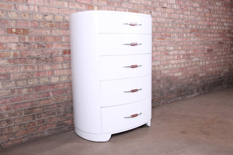 Widdicomb Art Deco White Lacquered Highboy Dresser, Newly Refinished In Good Condition For Sale In South Bend, IN