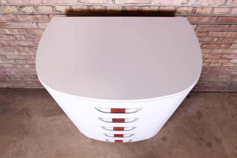 Mid-20th Century Widdicomb Art Deco White Lacquered Highboy Dresser, Newly Refinished For Sale