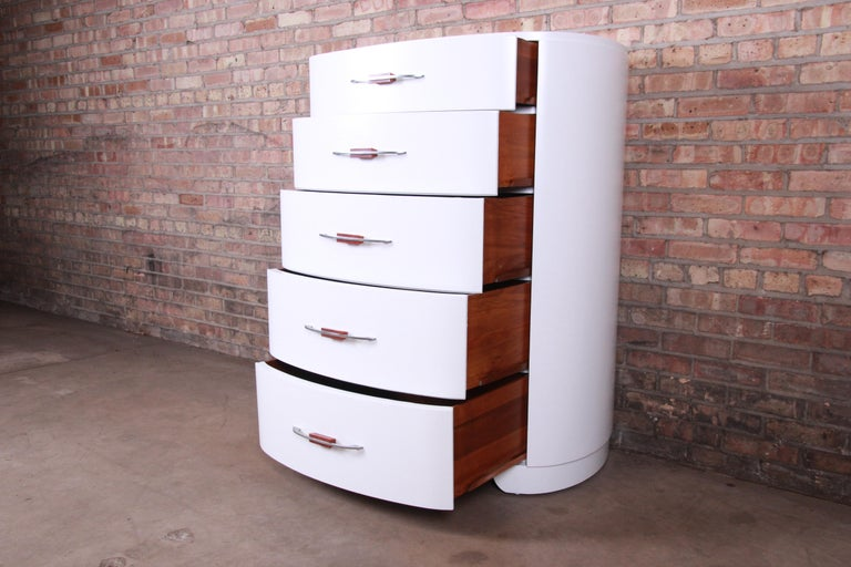 Widdicomb Art Deco White Lacquered Highboy Dresser, Newly Refinished For Sale 1
