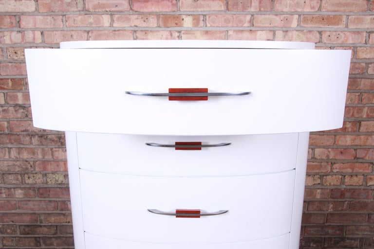 Widdicomb Art Deco White Lacquered Highboy Dresser, Newly Refinished For Sale 2