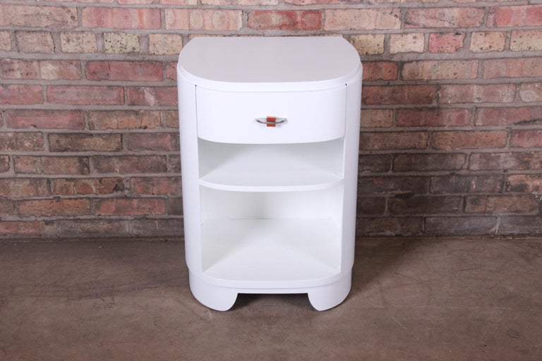 American Widdicomb Art Deco White Lacquered Nightstand, Newly Refinished For Sale
