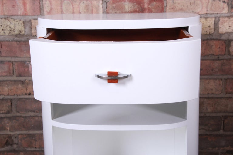 Chrome Widdicomb Art Deco White Lacquered Nightstand, Newly Refinished For Sale