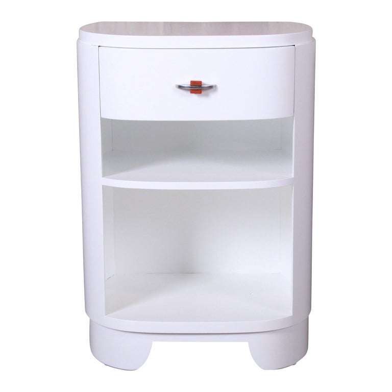 Widdicomb Art Deco White Lacquered Nightstand, Newly Refinished For Sale