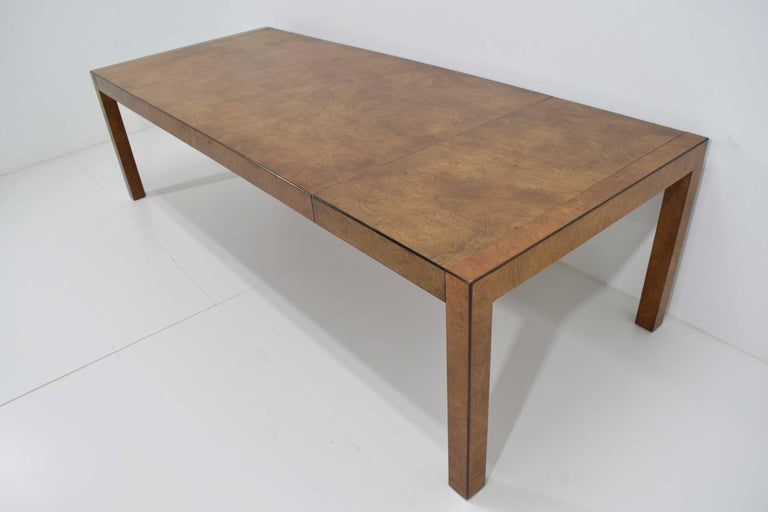 North American Widdicomb Burl Wood Dining Table For Sale