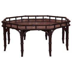 Widdicomb Hollywood Regency Chinoiserie Faux Bamboo Walnut Cocktail Table