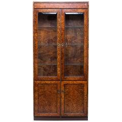 Widdicomb Midcentury Burled Olive Wood Cabinet with Glass Doors