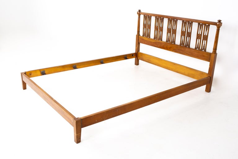 Widdicomb mid century Queen headboard This bed measures: 85 wide x 62.5 deep x 40 inches high, with a footboard of 9.75 inches high  All pieces of furniture can be had in what we call restored vintage condition. That means the piece is restored
