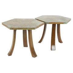 Widdicomb Style Mid Century Octagon Side Tables, Pair