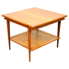 Widdicomb Two-Tier Walnut and Cane Side Table