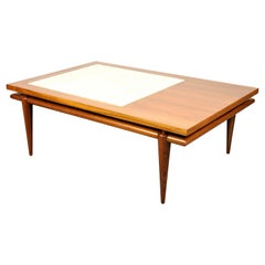 Widdicomb Walnut and Marble Coffee Table with Floating Top