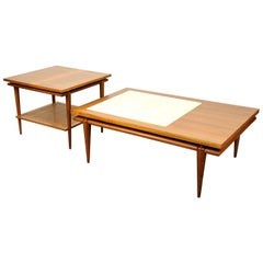 Widdicomb Walnut, White Marble and Cane Coffee and Side Table Set
