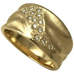 Wide 14 Karat Yellow Gold Textured Ring with White Diamond Cluster by K.MITA