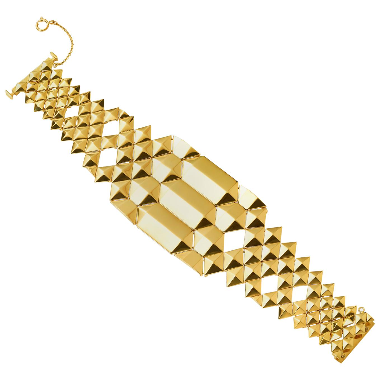 Wide 18 Karat Yellow Gold Bracelet
