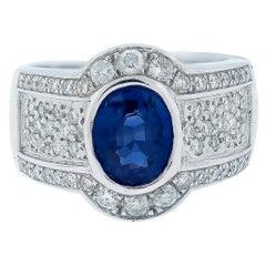 2.53 Sapphire Halo 1.50 Carat Diamond Ring