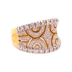 Wide .75 Carat Diamond Fashion Band in 14 Karat Yellow Gold and White Gold