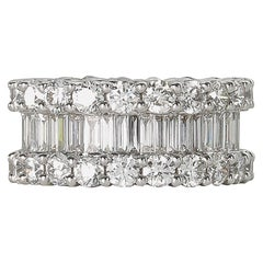 Wide 8 Carat Baguette and Round Diamonds Gold Eternity Band Ring