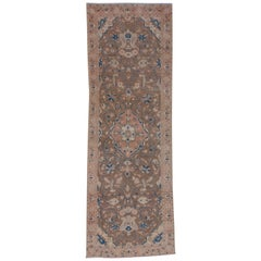 Wide Antique Oushak Runner, Brown Pink and Blue, circa 1930s