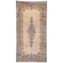 Wide Antique Persian Kerman Gallery Carpet, Ivory Field, Light Blue Accents