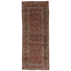 Wide Antique Tribal Bidjar Runner, Dark Red Field, Wide Runner