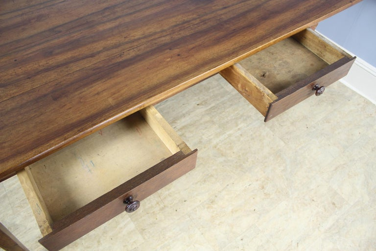 Wide Antique Walnut Dining Table, Two Drawers For Sale 6