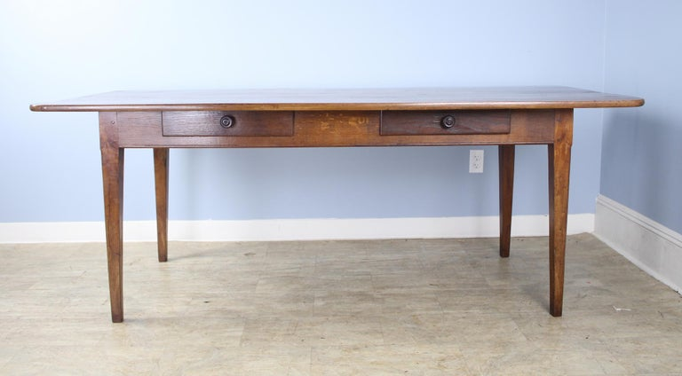 French Wide Antique Walnut Dining Table, Two Drawers For Sale