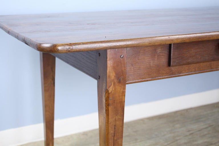 Wide Antique Walnut Dining Table, Two Drawers In Good Condition For Sale In Port Chester, NY
