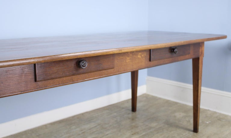 19th Century Wide Antique Walnut Dining Table, Two Drawers For Sale