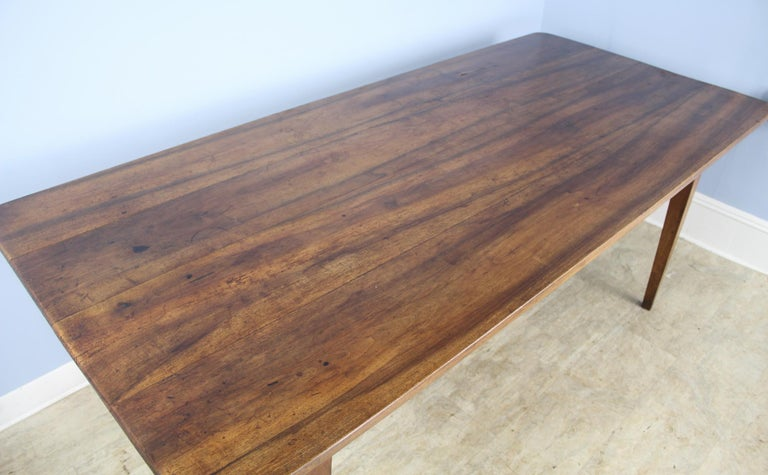 Wide Antique Walnut Dining Table, Two Drawers For Sale 1