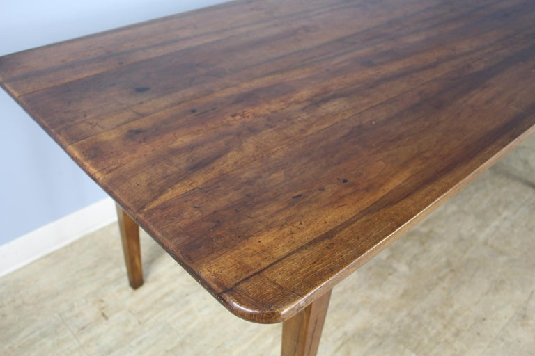 Wide Antique Walnut Dining Table, Two Drawers For Sale 2