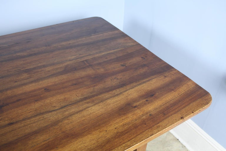 Wide Antique Walnut Dining Table, Two Drawers For Sale 4