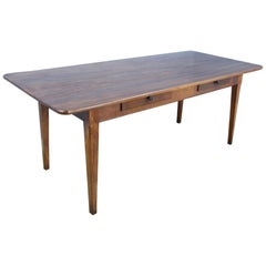 Wide Antique Walnut Dining Table, Two Drawers