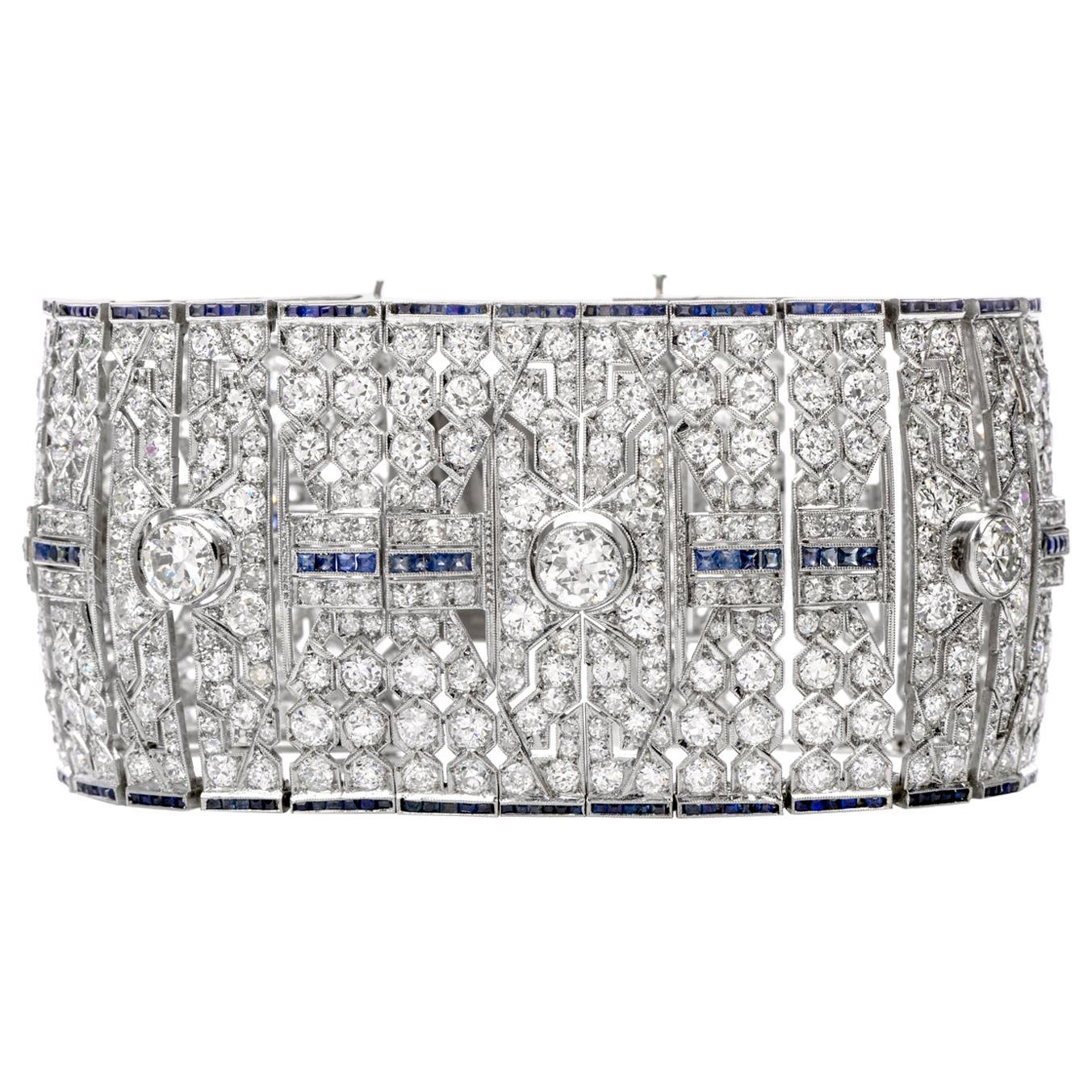 Wide Art Deco 41.78 Carat Diamond Sapphire Platinum Bracelet